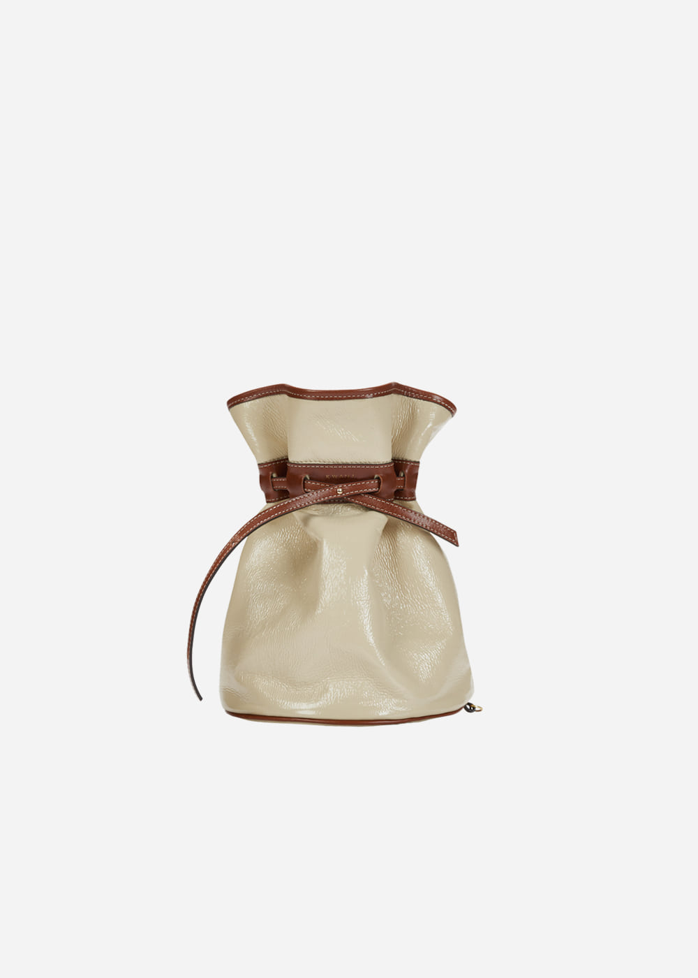 Celeb Patent Bucket Bag Beige