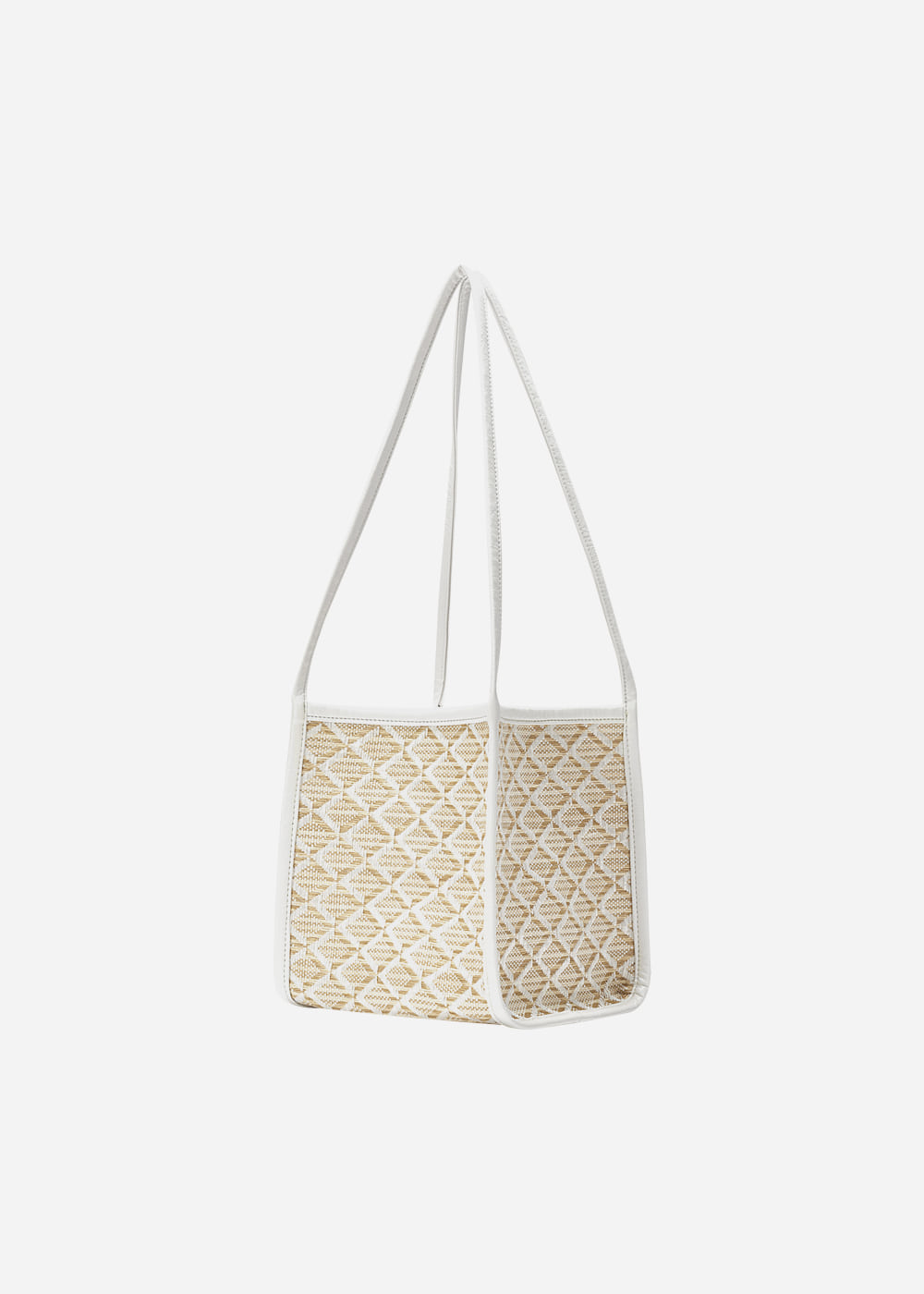 Rattan Shoulder Tote White
